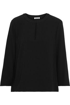 JASON WU Pleated lace-paneled crepe de chine blouse
