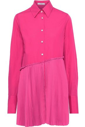 TOME Layered pleated crepe de chine-paneled cotton-poplin shirt