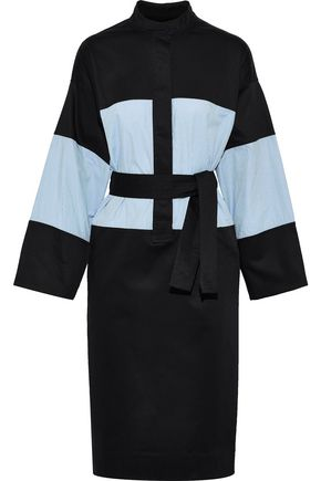 TOME Belted paneled cotton-blend poplin dress