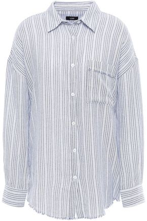 LINE Frayed cotton-crepe shirt