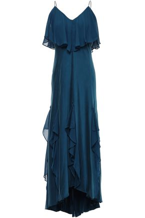 HALSTON HERITAGE Draped stretch-silk crepe de chine midi dress