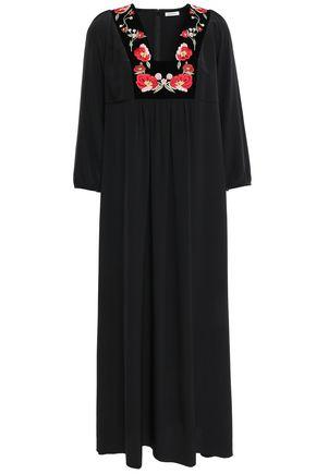 VILSHENKO Velvet-trimmed embroidered silk-crepe midi dress