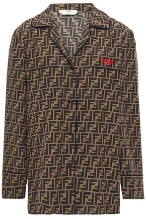 FENDI Embroidered printed silk crepe de chine shirt