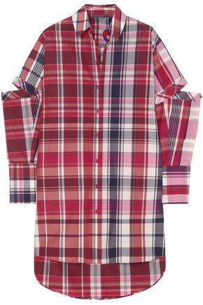 ALEXANDER MCQUEEN Convertible checked silk and cotton-blend shirt