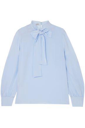 MIU MIU Pussy-bow silk crepe de chine blouse