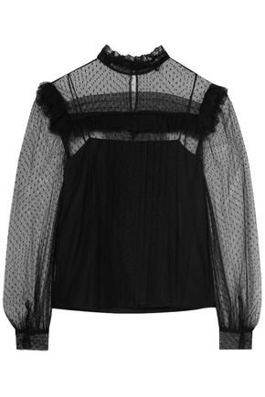 MIU MIU Ruffle-trimmed point d'esprit blouse