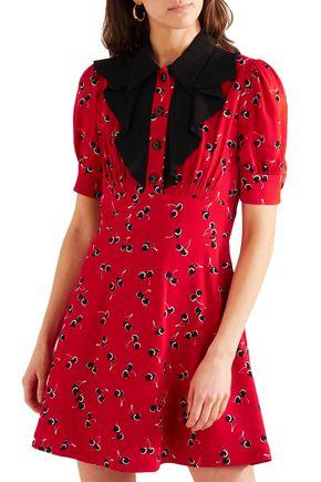 MIU MIU Printed crepe de chine mini dress