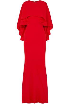 ALEXANDER MCQUEEN Cape-effect crepe gown