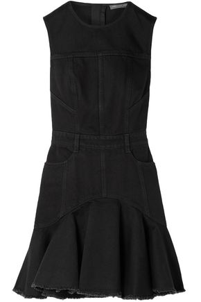 ALEXANDER MCQUEEN Fluted frayed denim mini dress
