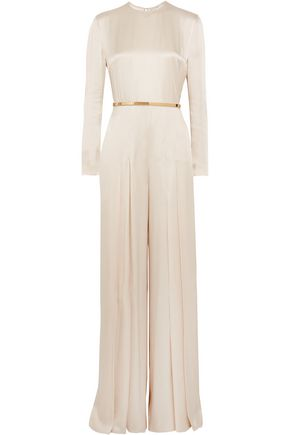 STELLA McCARTNEY Belted pleated satin jumpsuit