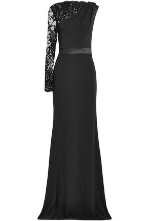 ALEXANDER MCQUEEN Split-front lace-paneled crepe gown