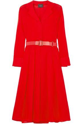 AKRIS Belted wool-crepe midi dress