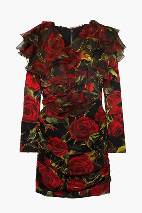 DOLCE & GABBANA Organza-trimmed floral-print silk-blend charmeuse mini dress