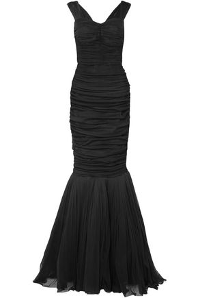 DOLCE & GABBANA Fluted ruched silk-tulle gown