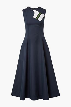 CALVIN KLEIN 205W39NYC Grosgrain-trimmed cotton and silk-blend twill midi dress