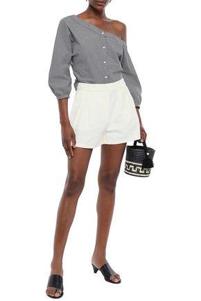 FRAME Pleated linen-blend shorts