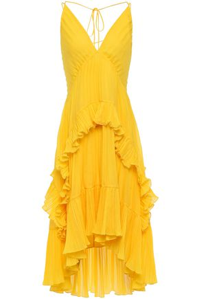 HALSTON HERITAGE Ruffled pleated georgette dress