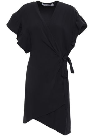 IRO Asymmetric satin-crepe wrap mini dress
