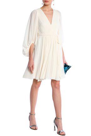 Halston Heritage Woman Wrap-Effect Pleated Chiffon Dress Cream