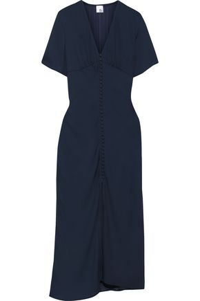 IRIS & INK Tyra gathered crepe midi dress
