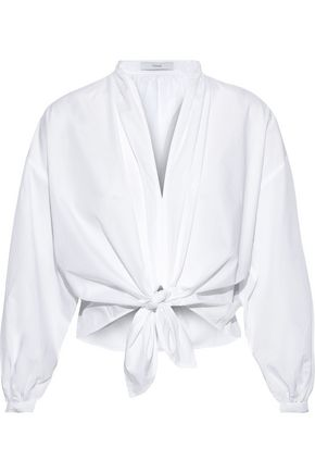 TOME Tie-front cotton-poplin blouse