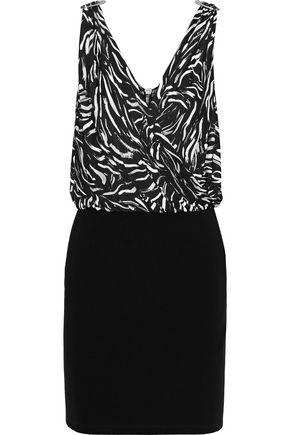 VERSUS VERSACE Embellished pleated printed jersey-paneled ponte mini dress