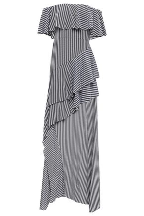 HALSTON HERITAGE Off-the-shoulder striped gauze dress