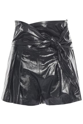 IRO Knotted glossed-leather shorts