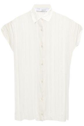 IRO Ruts metallic-trimmed striped crepe blouse