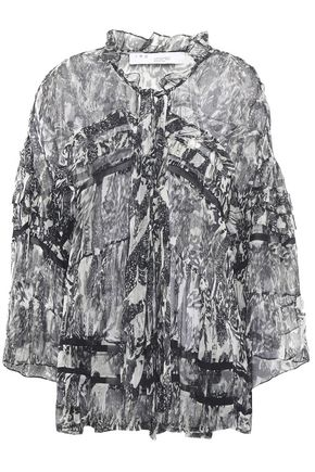 IRO Ruffled printed crinkled-georgette blouse