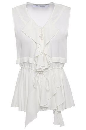 IRO Lace-up ruffled crepe de chine blouse