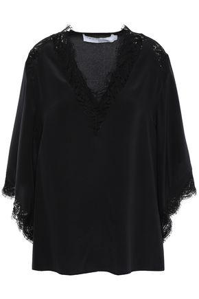 IRO Hawlk lace-trimmed silk crepe de chine blouse
