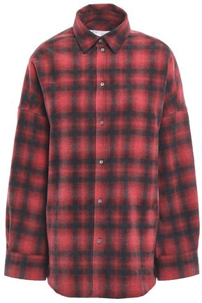 IRO Algo oversized checked brushed-cotton shirt