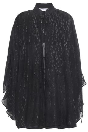 IRO Abbey tie-front metallic fil coupé chiffon blouse