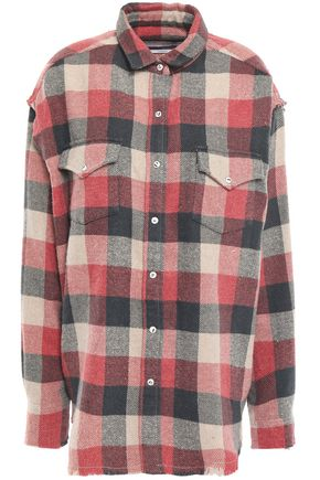 IRO Garance oversized checked cotton-blend flannel shirt