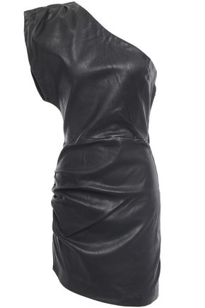 IRO Apria one-shoulder draped stretch-leather mini dress