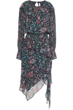 IRO Blank asymmetric layered printed gauze dress