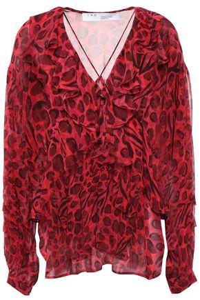 IRO Realize ruffled leopard-print chiffon blouse
