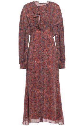 IRO Gathered ruffled printed georgette midi dress