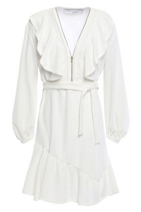 IRO Belted ruffled crepe dresss