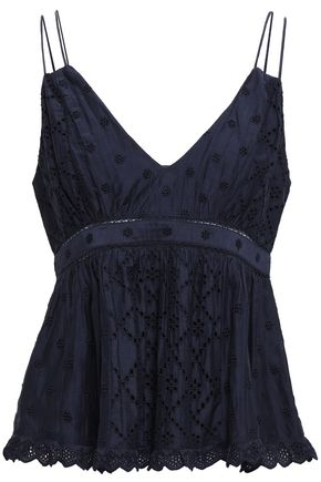 JOIE Chani broderie anglaise cotton and silk-blend peplum top