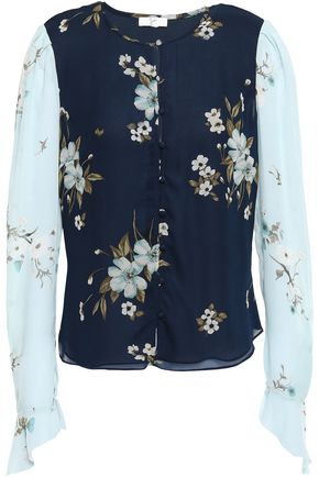 JOIE Floral-print silk crepe de chine and georgette blouse