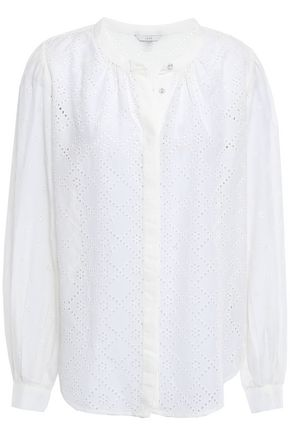 JOIE Broderie anglaise cotton and silk-blend blouse