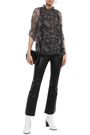 IRO Ruffled printed crinkled-georgette blouse