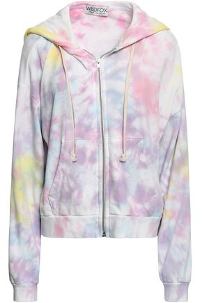 WILDFOX Tie-dye French cotton-terry hooded sweatshirt