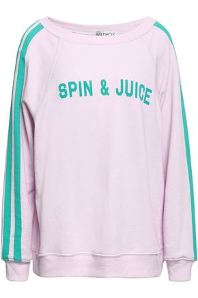 WILDFOX Printed French cotton-blend terry sweatshirt