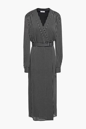 EQUIPMENT Kortni belted gingham crepe midi wrap dress