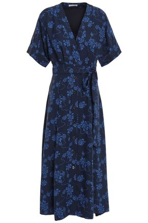 EQUIPMENT Belted printed crepe midi dress
