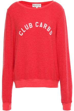 WILDFOX Printed brushed-jersey sweatshirt