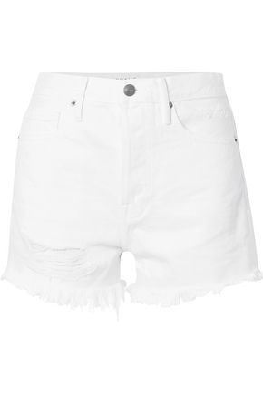 FRAME Stockley distressed denim shorts